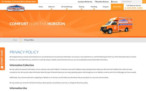 Screenshot of Privacy Page horizonservices.com - Privacy Policy | Horizon Services - captured Nov. 12, 2019