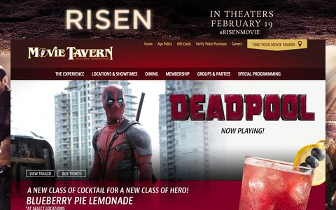 Screenshot of Home Page movietavern.com - Movie Tavern | Great Food, the Latest Movies, and a Full Bar - captured Feb. 18, 2016