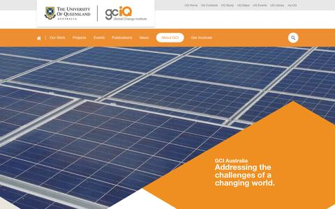 Screenshot of About Page uq.edu.au - About GCI | Global Change Institute - captured Sept. 18, 2014