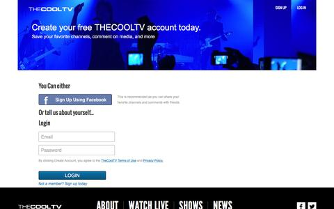 Screenshot of Login Page thecooltv.com - TheCoolTV - Watch Music Videos Anytime. Anywhere. - captured Jan. 22, 2016
