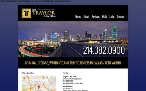 Screenshot of Contact Page traylorlawfirm.com - Contact | Traffic & Criminal Defense Lawyer | Traylor Law Firm - captured Oct. 9, 2014