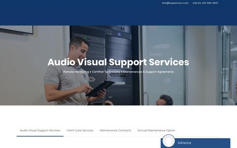 Screenshot of Support Page audiovisual-installations.com - Audio-Visual Maintenance Service | AV Planners - captured Oct. 2, 2018