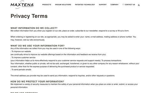 Screenshot of Privacy Page maxtena.com - Privacy Terms - Maxtena Inc. - captured Dec. 15, 2018