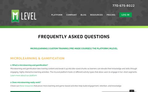 Screenshot of FAQ Page mlevel.com - Frequently Asked Questions » mLevel - captured Nov. 1, 2017
