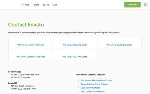Screenshot of Contact Page envato.com - Contact Envato - captured Oct. 25, 2019