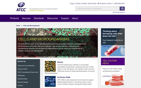 Screenshot of Products Page atcc.org - Cells and Microorganisms - captured May 28, 2017