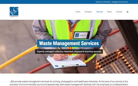 Screenshot of Services Page jg-environmental.com - Waste Management Services - J&G Environmental - captured Sept. 28, 2017