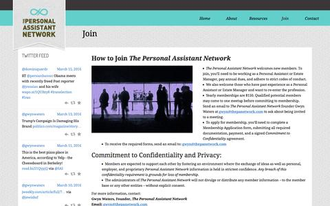 Screenshot of Signup Page thepanetwork.com - Join – The Personal Assistant Network - captured March 16, 2016