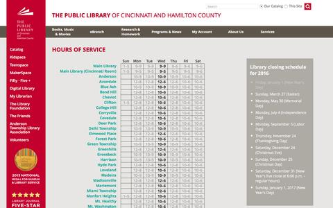 Screenshot of Hours Page cincinnatilibrary.org - Hours of Service - captured Jan. 20, 2016