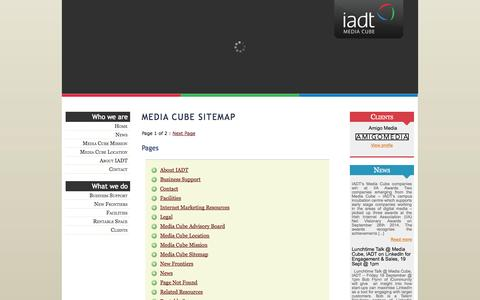 Screenshot of Site Map Page mediacube.ie - Media Cube's Sitemap - Business Incubation and Innovation Centre | IADT Media Cube - captured Oct. 3, 2014