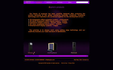 Screenshot of Products Page 2optra.com - 2optra - Entertainment Control Systems | hologram displays - holographic projections - interactive multimedia systems | products - captured Sept. 30, 2014