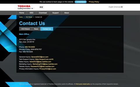 Screenshot of Contact Page ocz.com - Contact OCZ SSD Brand - captured July 3, 2016