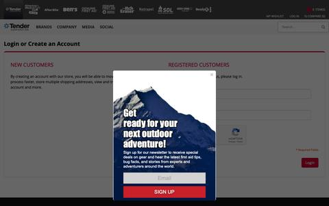Screenshot of Login Page tendercorp.com - Customer Login - captured Oct. 20, 2018