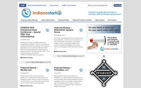 Screenshot of Home Page indianastartup.com - IndianaStartup.com - A Resource for entrepreneurs, start-ups and small business. - captured Oct. 4, 2014