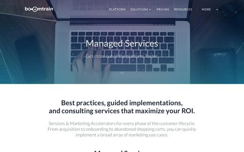 Screenshot of Services Page boomtrain.com - Managed Services - Boomtrain - captured Nov. 25, 2016