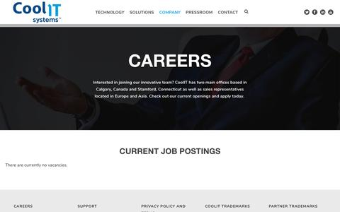 Screenshot of Jobs Page coolitsystems.com - Careers at CoolIT Systems - Join Our Growing Team - captured Nov. 7, 2019