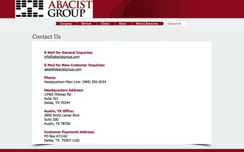 Screenshot of Contact Page abacistgroup.com - Contact Abacist Group - captured July 28, 2018