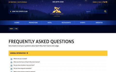 Screenshot of FAQ Page spiritmountain.com - Frequently Asked Questions | Spirit Mountain Casino   | Spirit Mountain Casino - captured June 3, 2018