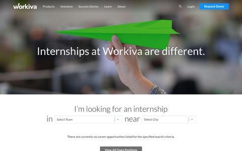 Screenshot of Jobs Page workiva.com - Internship Opportunities | Workiva - captured June 28, 2019