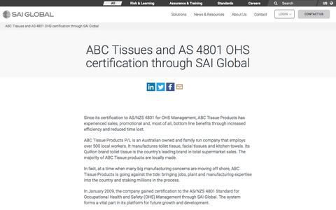 Screenshot of Case Studies Page saiglobal.com - ABC Tissues and AS 4801 OHS certification through SAI Global - SAI Global - captured Dec. 12, 2019