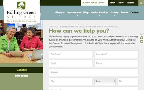 Screenshot of Contact Page rollinggreenvillage.com - Contact | Rolling Green Village - captured Sept. 21, 2018