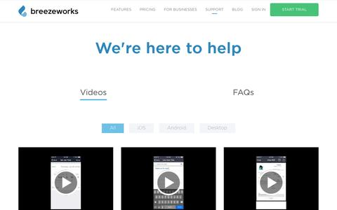 Screenshot of Support Page breezeworks.com - Support Video | Breezeworks - captured July 3, 2016