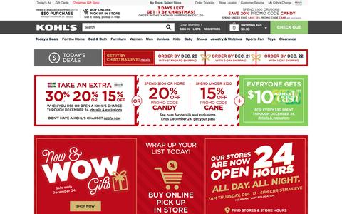 Screenshot of Home Page kohls.com - Kohl's | Shop Clothing, Shoes, Home, Kitchen, Bedding, Toys & More - captured Dec. 17, 2015