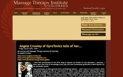 Screenshot of Blog mtic.edu - Massage Therapy Institute of Colorado - captured Oct. 27, 2014