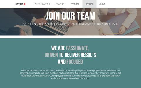 Screenshot of Jobs Page divisiond.com - Careers | Division-D - captured Aug. 1, 2018