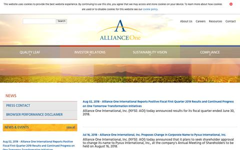 Screenshot of Press Page aointl.com - Alliance One International :: News - captured Oct. 24, 2018