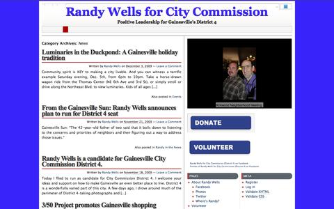 Screenshot of Press Page randywells.org - Archives for  News » Randy Wells for City Commission - Positive Leadership for Gainesville's District 4 - captured Oct. 21, 2016