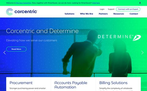 Screenshot of Home Page corcentric.com - AP Automation, Procurement, and Billing Solutions | Corcentric - captured March 16, 2019