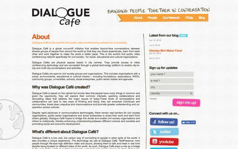 Screenshot of About Page dialoguecafe.org - Dialogue Café | About - captured Aug. 6, 2018
