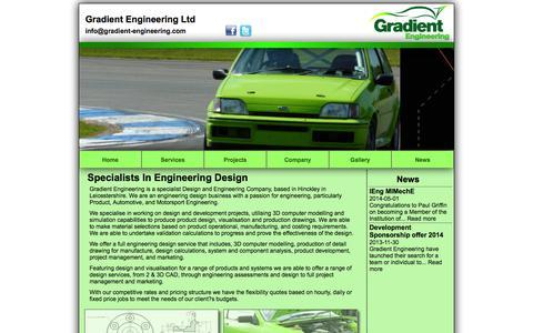 Screenshot of Home Page gradient-engineering.com - Gradient Engineering Ltd - www.gradient-engineering.com - captured Oct. 3, 2014