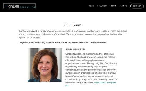 Screenshot of Team Page highbarconsulting.com - Team — HighBar Consulting - captured July 19, 2018