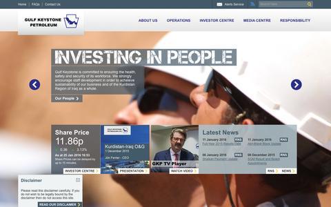 Screenshot of Home Page gulfkeystone.com - Gulf Keystone | Home - captured Jan. 25, 2016