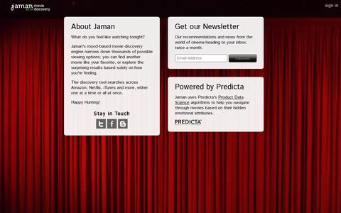 Screenshot of About Page jaman.com - Jaman Movie Discovery - captured July 20, 2014