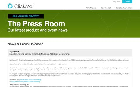 Screenshot of Press Page clickmail.com - Press Releases & The Latest Email News | ClickMail - captured Sept. 19, 2014