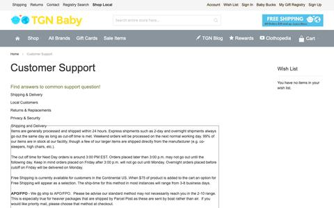 Screenshot of Privacy Page Support Page thegreennursery.com - Customer Support - captured Oct. 4, 2018