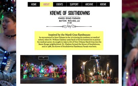 Screenshot of About Page southdowns.org - Krewe of Southdowns Mardi Gras Parade - ABOUT - captured April 27, 2017