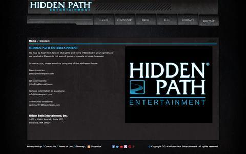 Screenshot of Contact Page hiddenpath.com - Hidden Path Entertainment - captured Sept. 24, 2014