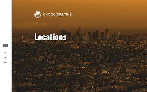 Screenshot of Locations Page chcconsulting.com - Locations - captured July 9, 2017