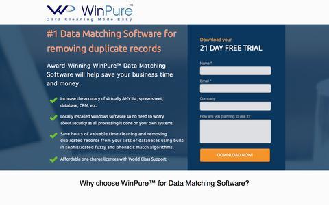 Screenshot of Landing Page winpure.com - Award-Winning Data Cleansing and Matching Software. - captured Dec. 28, 2016