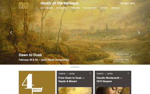 Screenshot of Home Page baroque.org - Music of the Baroque - captured Feb. 15, 2016