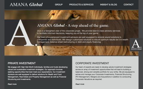 Screenshot of Home Page amanaglobal.com - Amana Global | Home - captured Feb. 5, 2016