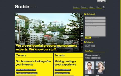 Screenshot of Home Page stableproperty.co.nz - Residential Property Management, Wellington, Lower Hutt, Upper Hutt - captured Feb. 16, 2016