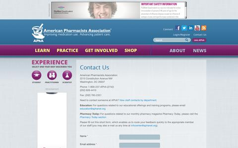 Screenshot of Contact Page pharmacist.com - Contact Us | American Pharmacists Association - captured Nov. 2, 2014
