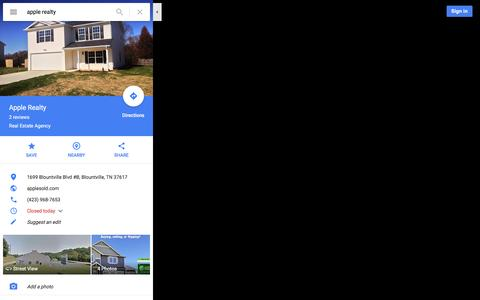 Screenshot of Maps & Directions Page google.com - Apple Realty - Google Maps - captured Feb. 6, 2016