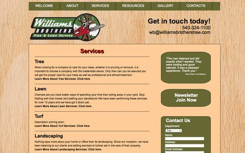 Screenshot of Services Page williamsbrotherstree.com - Services - Williams Brothers : Williams Brothers - captured Oct. 26, 2014