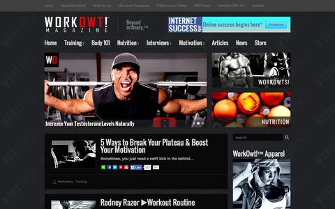 Screenshot of Home Page workowt.com - WorkOwt!™ Magazine - captured Oct. 8, 2014
